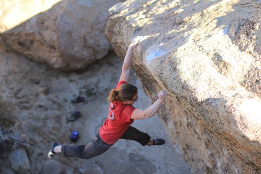Flannery Shaw-Nemirow sticks the lip of Fly Boy (V8). She's house-sitting our trailer while we're gone.