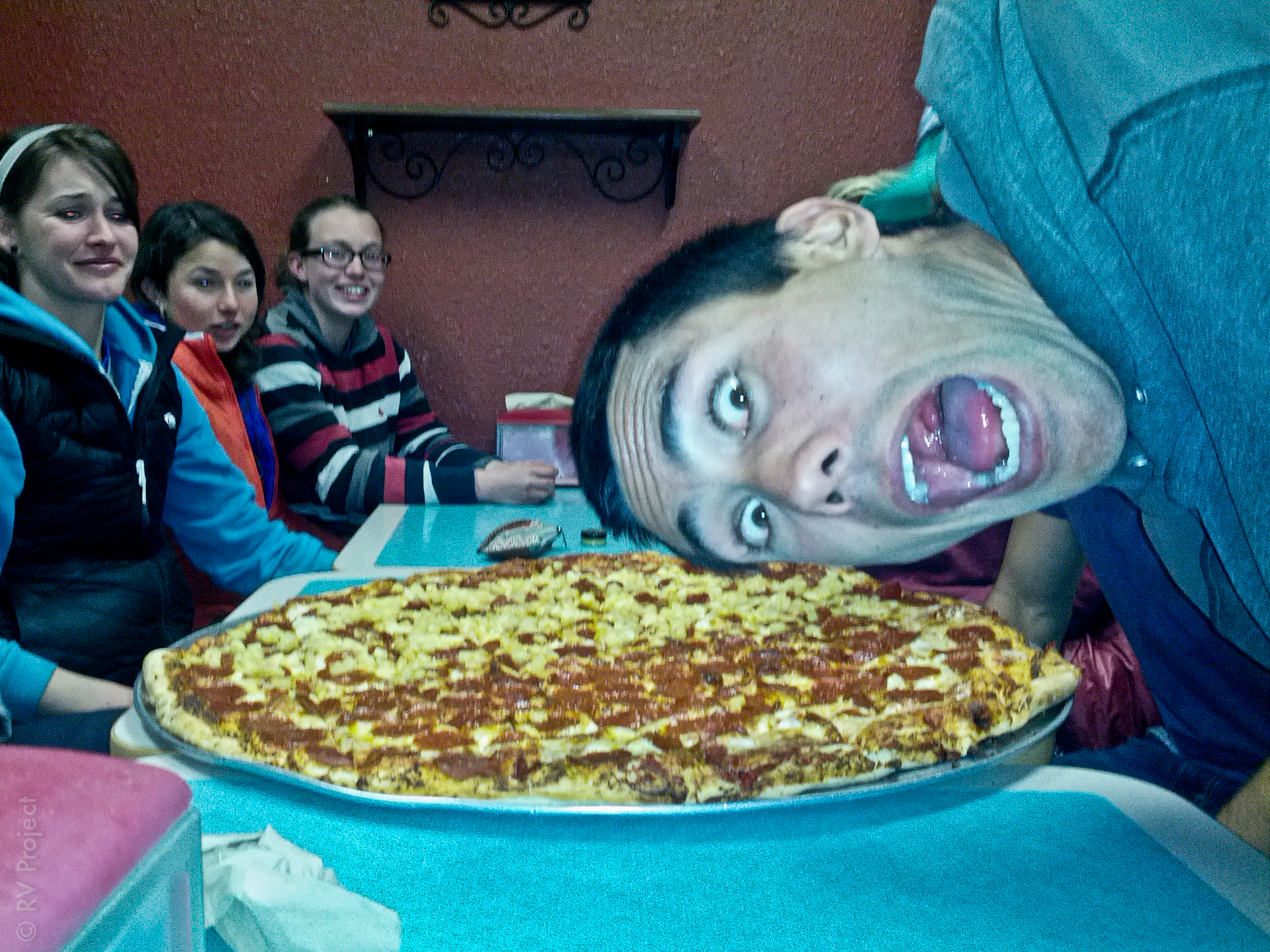 28-inch pizza. 'Nuff said. Oh, and nice photobomb, Spenser.