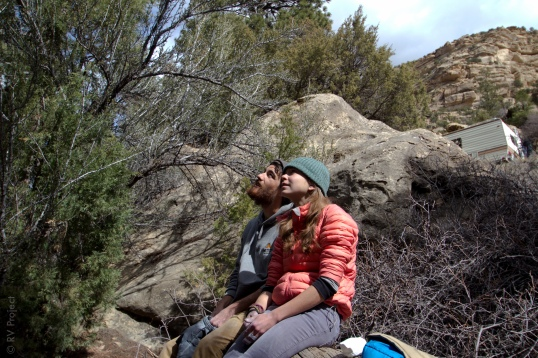 Nothing as romantic as watching some bouldering on a sunny afternoon, right? Katie & Niko admire.