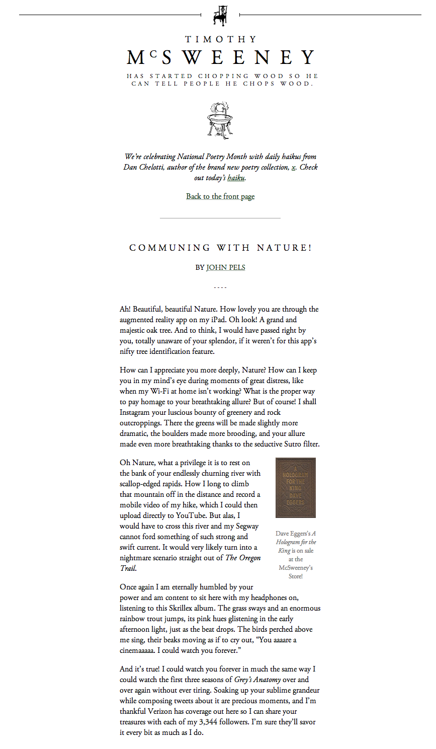 McSweeney's Internet Tendency: Communing with Nature!