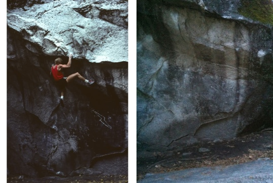 Left: John Bachar climbs the Lightning. On the right, the naked Columbia Boulder. Photos from jameslucas.blogspot.com