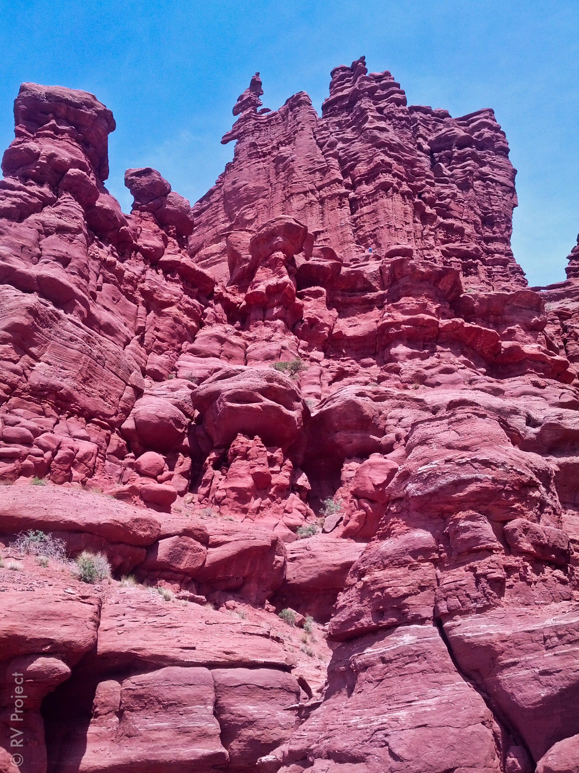 If you look really close, you can see a couple climbing (belayer is in a blue shirt). Fisher Towers were huge!!