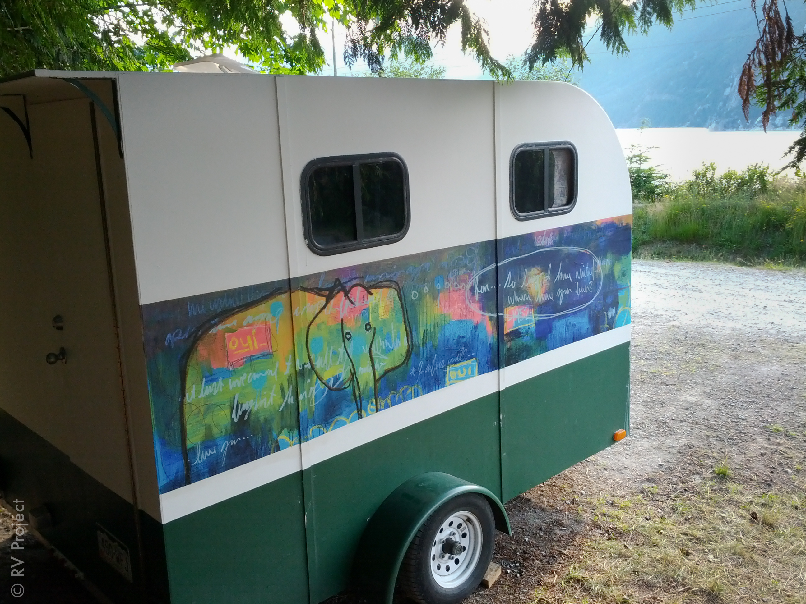 My view while typing. Thanks to Nate Ethington for painting this amazing piece while the trailer was parked in Portland. Please visit nateethington.com for more of his work.