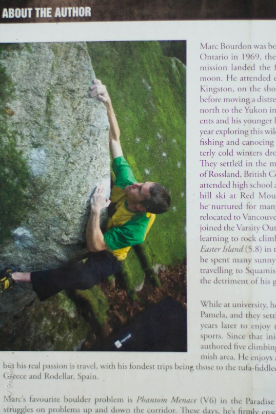 Yes, even the author of the guidebook knows a thing or two about how to grab the apex of a boulder.
