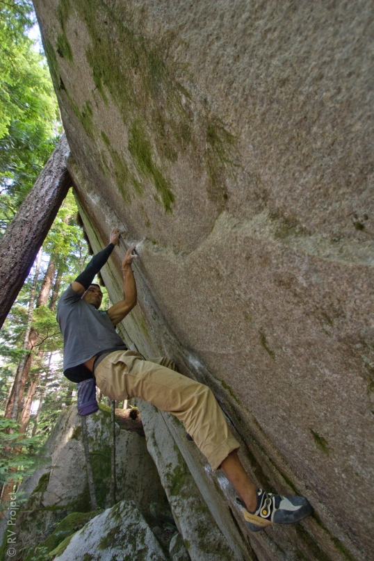 The author on the first physical crux of Ride the Lightning (V8). The first mental crux is to try the problem in the first place.