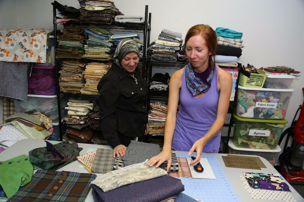 Stefanie and Sahar picking out fabrics at Ambatana Threads showroom in downtown SLC.