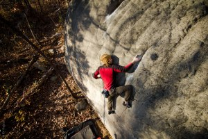 Walker Kearny climbing some amazing holds that probably won't break. The Brain, V6(?)
