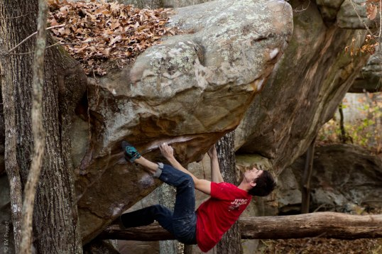 Greg Ward puts down a totally fun arete just to the left of Hustle and Flow. V6?