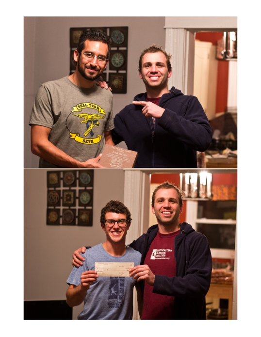 Zachary Lesch-Huie of the Access Fund bestows the Sharp End award to Josh Reyes, and a check to Michael Wurzel. Watch the video below to learn a bit more about the AF-SCC relationship