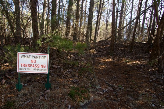 This sign is on the east side of hwy 157. The landowner is, apparently, a little bit snarky. The faint trail that you can see to the right is assuredly on the Zahnd tract and is completely public (it leads to an overlook).